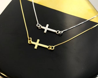 Tiny Gold Cross Necklace For Women - Sterling Silver Religious Jewelry To Gift For Her