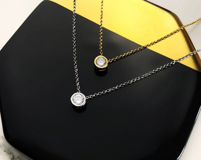 Dainty Solitaire Necklace, Bridesmaid necklace, Silver Necklace, Solitaire Jewelry, Necklaces For Women, Bridal Jewelry, CZ Necklace