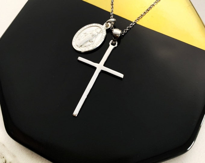 Silver Cross With Vigin Mary Necklace For Women - Dainty Religious Jewelry To Gift For Her