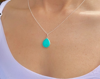 Turquoise Drop Necklace, Silver Necklace, Turquoise Necklace, Necklaces For Women, Dainty Necklace, Turquoise Jewelry, Drop Necklace