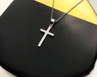 Sterling Silver Cross Necklace For Women, Cross Jewelry, Religion Necklace, Silver Necklace, Minimalist Necklace, CZ Cross Necklace