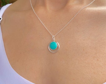 Silver Necklace, Turquoise Necklace, Necklaces For Women, Dainty Necklace, Turquoise Jewelry, Drop Necklace, Turquoise Drop Necklace,