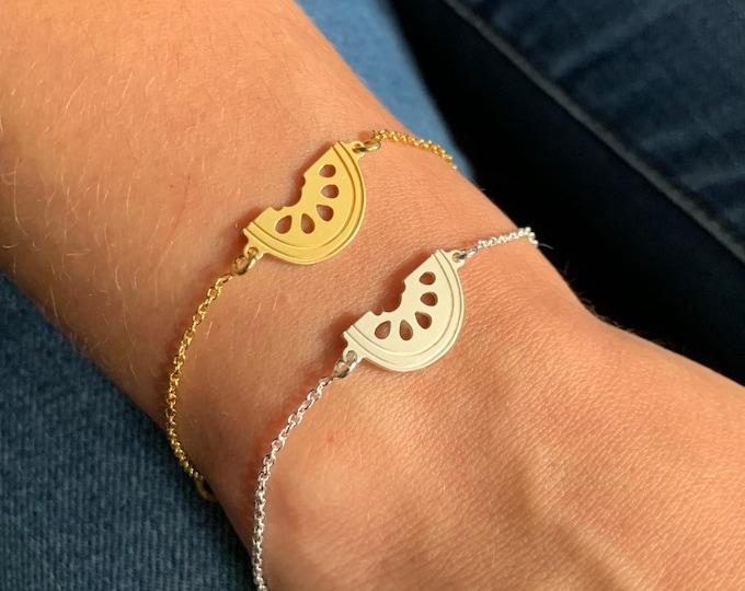 Watermelon Bracelet, Watermelon Jewelry, Bracelets For Women, Silver Watermelon Bracelet, Watermelon Charm Bracelet, Dainty Bracelet
