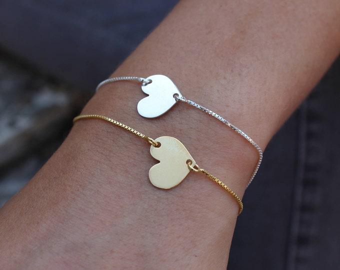 Dainty Bracelet, Heart Bracelet, Love Bracelet, valentines day, Tiny Bracelet, Gold Bracelet, Sterling Silver Bracelet, Chain Bracelet