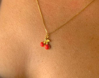 Gold Cherries Necklace, Cherries Jewelry, Necklaces For Women, Minimalist Cherry Necklace, Tiny Gold Necklace, Dainty Gold Necklace