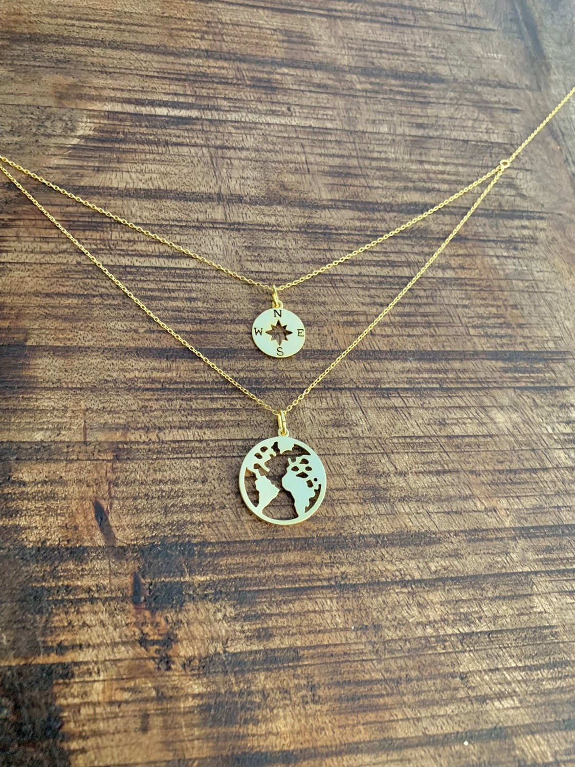 Sterling Silver World Map Necklace, Compass Necklace