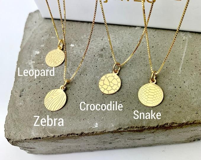 Animal Printing Necklace For Women, Dainty Animal Charm Jewelry, Minimalist Necklace, Gold Animal Necklace, Silver Animal Printing Jewelry