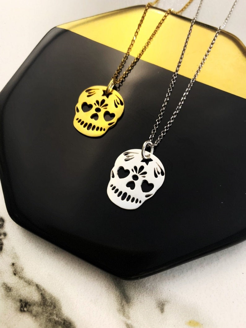 Gold Skull Pendant Necklace For Women  Dainty Sterling Silver image 0