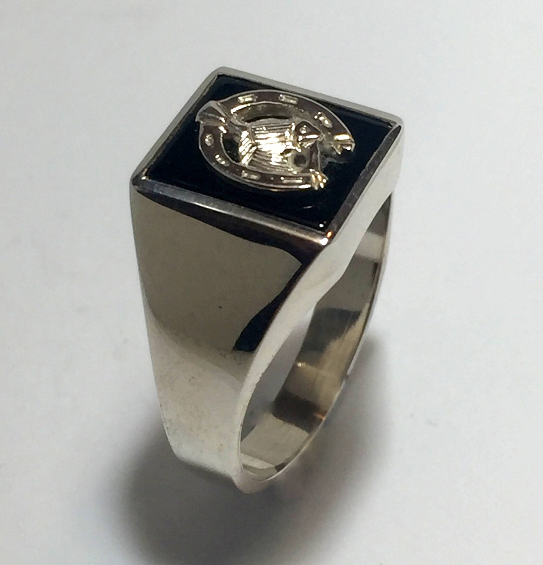 Sterling horseshoe silver hand crafted onyx horseshoe Sterling and horse head vintage mens ring. 6adce1