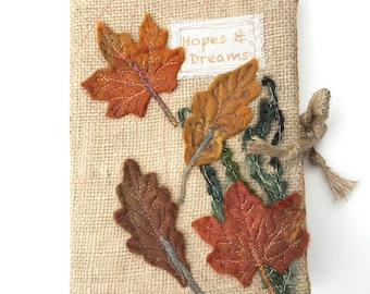 Autumn Leaves notebook, A5 Textile Journal Cover, A5 fabric notebook Cover, Reusable book cover