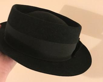 Vintage italian black boater hat a2ecdff77ef
