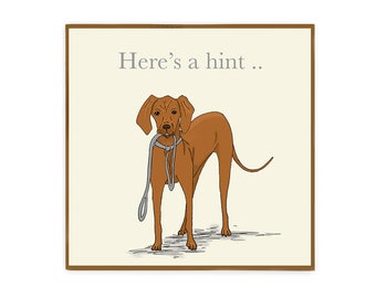 Vizsla Dog Card, Here's a Hint. Funny dog greetings card blank inside for all occasions, birthday, hello or thank you.