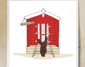 Rosé O'clock beach hut greetings card, blank inside, birthday card, thankyou card, dog card