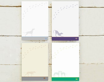 4 Pack A6 Lined Dog Notebooks with different dog designs Vizsla Weimarana and Whippet