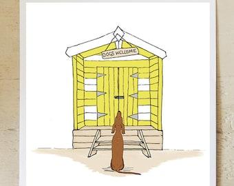 Dogs Welcome beach hut greetings card, blank inside, birthday card, thankyou card, vizsla,