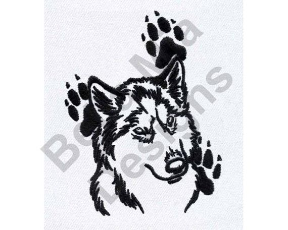 Siberian Husky Outline Machine Embroidery Design Embroidery Etsy