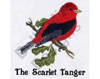 Bird - Machine Embroidery Design, Red Bird