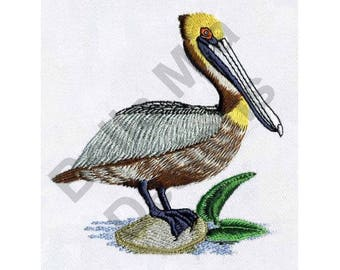 Bird - Machine Embroidery Design, Pelican, Brown Pelican