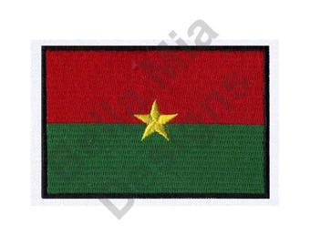 Flag Of Burkina Faso - Machine Embroidery Design, Burkina Faso
