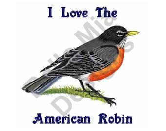 Bird - Machine Embroidery Design, American Robin