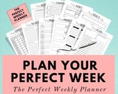 Weekly Planner Printable, Work Agenda, To Do List, Meal Planner, Self Care, Happy Planner, Life Planner, Goal Planner, Sunday & Monday Start