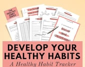 Healthy Habit Tracking Printable to develop daily & monthly habits, habit tracker routine, daily habits chart, fitness planner printable