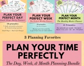 The Ultimate Time Management Planning Bundle - The best printable bundle to manage your day, week and month effectively & efficiently.