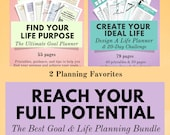 Lifestyle Planner & Goal Planner Printable Bundle, Planner Pack, Life Planner, Happiness and Mindfulness, Anxiety Journal, Goal Tracker, A5