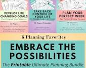 Printable Life Planner, Goal Planner, Weekly Planner, Printable Planner, Self Care, Wellness, Happy Planner, Work Agenda, Decluttering