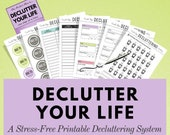 Declutter Your Home Stress-Free, Printable Decluttering System, Spring Cleaning, Home Checklist, Organization, Chore Chart List, A5 Inserts