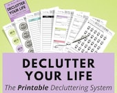 Printable Decluttering System, Declutter your Home Stress-Free, Spring Cleaning, Home Checklist, Organization, Chore Chart List, A5 Inserts