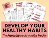 Printable Healthy Habit Tracking Planner to develop daily & monthly habits, habit tracker routine, daily habits chart, fitness planner