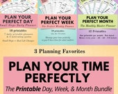 Printable Daily, Weekly & Monthly Planner Bundle, Daily Productivity Planner, Organization, Life Organizer, Work Planner, To Do List