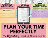 Digital Time Management Planning Bundle, Digital Weekly Planner, Digital Day Planner, Digital Monthly Planner, iPad Tablet, Digital Notebook