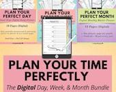 Digital Time Management Planning Bundle, Digital Weekly Planner, Digital Day Planner, Digital Monthly Planner, iPad Tablet, Digital Notebook