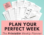 Printable Weekly Planner, Life and Goal Planner, Work Agenda, To Do List, Self Care, Meal Planner, A5 Planner Insert, Sunday & Monday Start