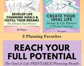 Lifestyle Planner & Goal Planner Printable Bundle, Planner Pack, Life Planner, Happiness and Mindfulness, Anxiety Journal, Goal Tracker