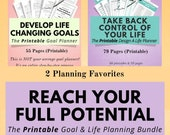 Printable Lifestyle Planner & Goal Planner Bundle, Planner Pack, Life Planner, Happiness and Mindfulness, Anxiety Journal, Goal Tracker