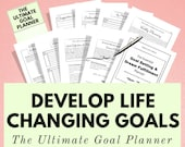 Goal Planner, Life Planner, Printable Planner, Goal Journal, Goal Tracker, Wellness, Self Care, Happy Planner Inserts