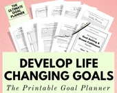 Goal Planner Printable for Life Organization, Motivation & Self Care. Goal Setting Tracker, Happiness Journal, Wellness Plan, Anxiety , A5