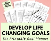 Printable Goal Planner for Life Organization, Motivation & Self Care. Goal Setting Tracker, Happiness Journal, Wellness Plan, Anxiety , A5
