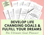 Goal Planner, Life Planner, Printable Planner, Goal Journal, Goal Tracker, Wellness, Self Care, Happy Planner Inserts, Bullet Journal