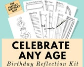 Birthday Reflection Kit, Printable Planner, Gift for Birthday Woman, Best Birthday Gift for Her, Wellness, Self Care Journal, Life Planner