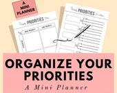 A mini Life Planner printable to help you organize your priorities and goals, goal planner printable, self care planner, weekly planner, A5