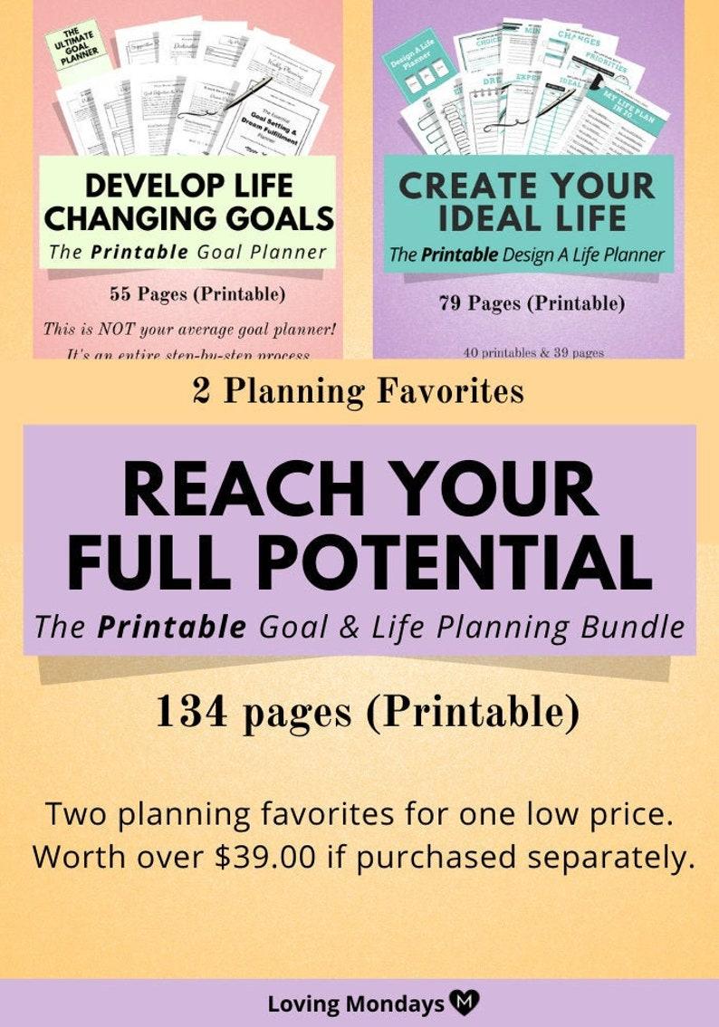 Printable Lifestyle Planner & Goal Planner Bundle Planner image 0