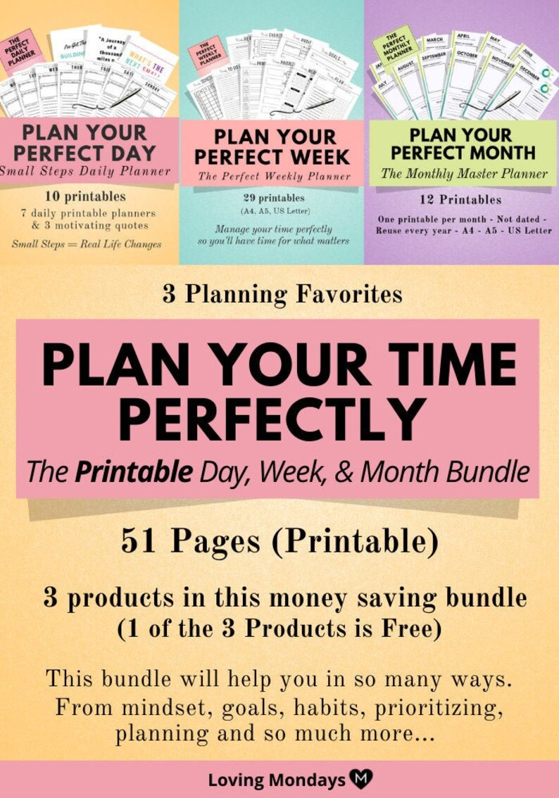 Printable Daily Weekly & Monthly Planner Bundle Daily image 0