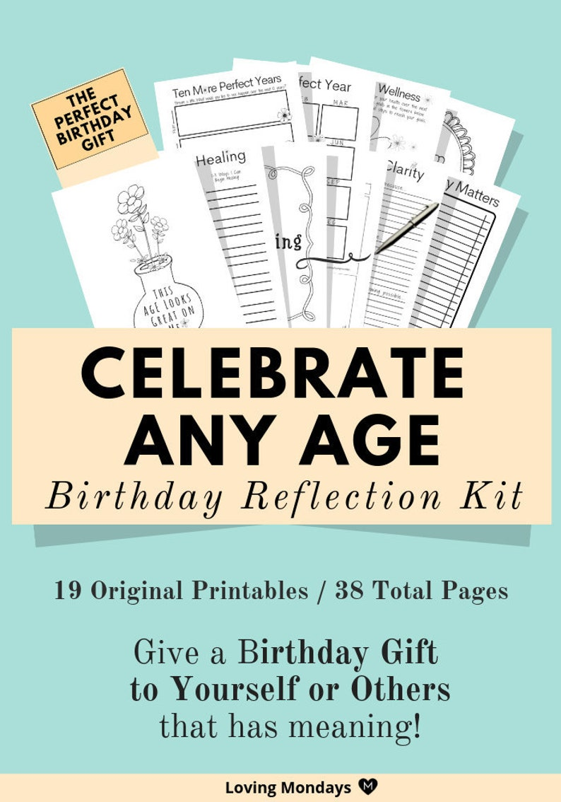 Birthday Reflection Kit Printable Planner Gift for Birthday image 0