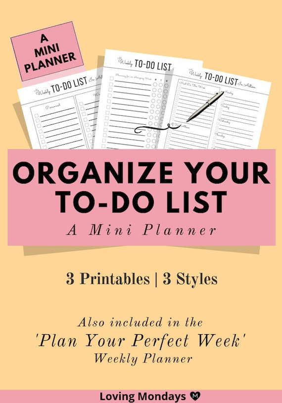 Weekly And Daily To Do List Printable For Organization And Productivity Undated Planner Weekly Planner Work Agenda Time Management A5