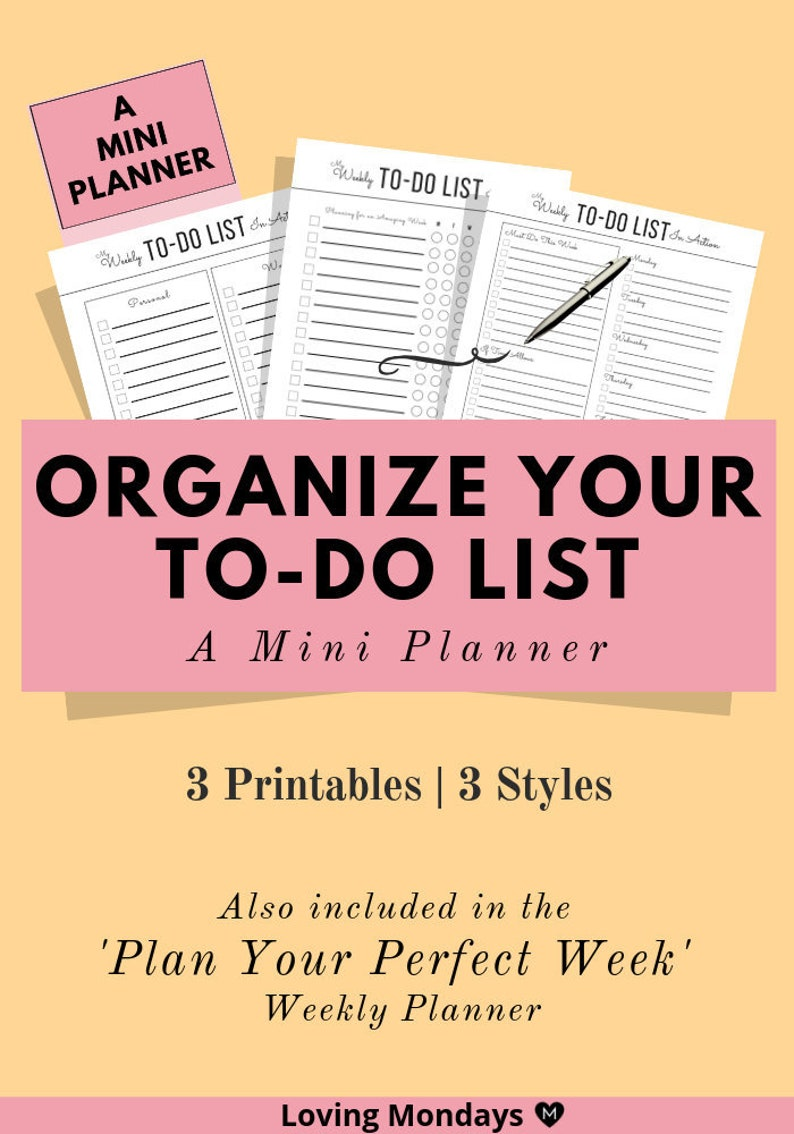 photograph relating to To Do List Printables known as Weekly and every day in the direction of do record printable for company and efficiency, undated planner, weekly planner, do the job routine, year command, A5