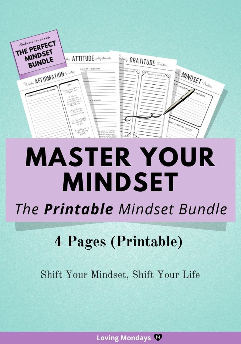Positive Mindset Printable Bundle Gratitude Journal Self image 0